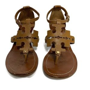 Tory Burch Phoebe Brown Leather Logo Sandals